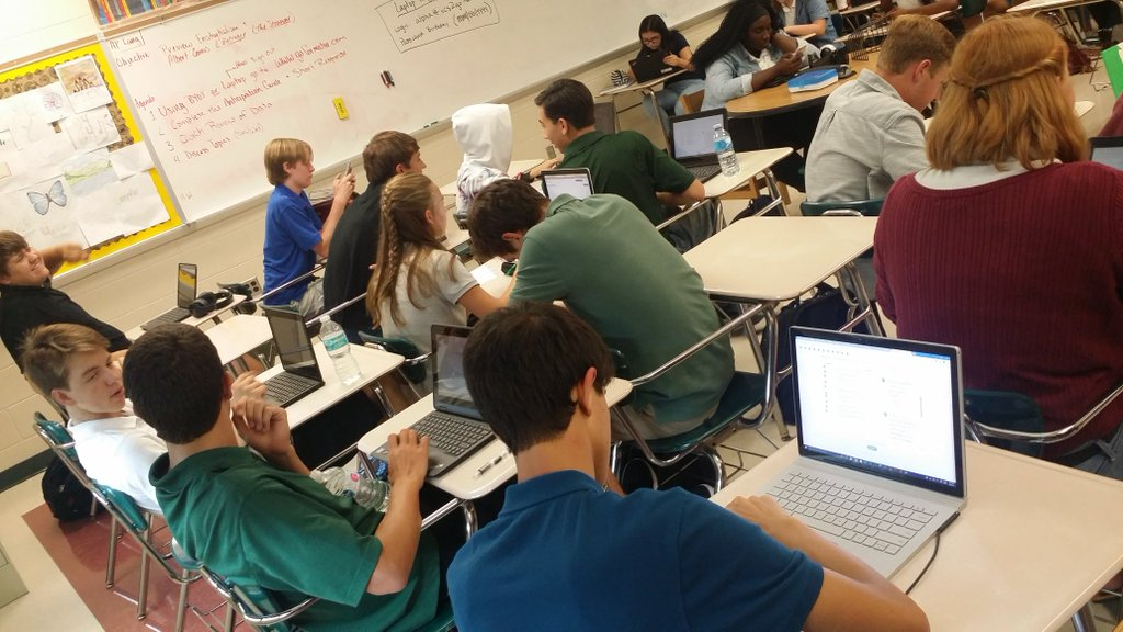Students discussing the opinions they shared on Formative!