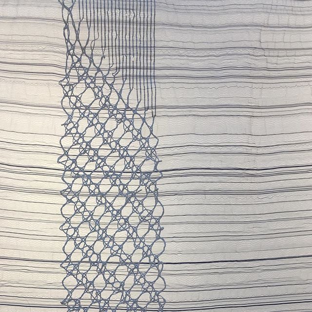 Lace and stripes➰  This piece was commissioned by @make_hwsomerset and first exhibited about a year ago in Bruton. It's now on show again in the Dye House Gallery in Bradford @bradfordschoolofart
