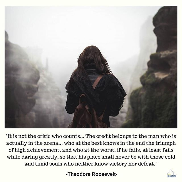 """It is not the critic who counts; not the man who points out how the strong man stumbles, or where the doer of deeds could have done them better. The credit belongs to the man who is actually in the arena, whose face is marred by dust and sweat and blood; who strives valiantly; who errs, who comes short again and again, because there is no effort without error and shortcoming; but who does actually strive to do the deeds; who knows great enthusiasms, the great devotions; who spends himself in a worthy cause; who at the best knows in the end the triumph of high achievement, and who at the worst, if he fails, at least fails while daring greatly, so that his place shall never be with those cold and timid souls who neither know victory nor defeat.""- Theodore Roosevelt  One of our favorite quotes to start off the week! Have a great week everyone- DARE GREATLY!!! #wearebecoming  #quoteoftheday #motivationalmonday #theodoreroosevelt #dare #faith #daringgreatly #agingout #fostercare #dosomething #bronx #nyc"