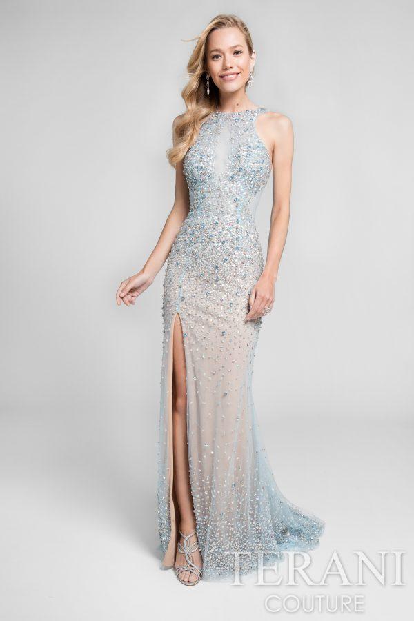 Beaded Dress with Slit