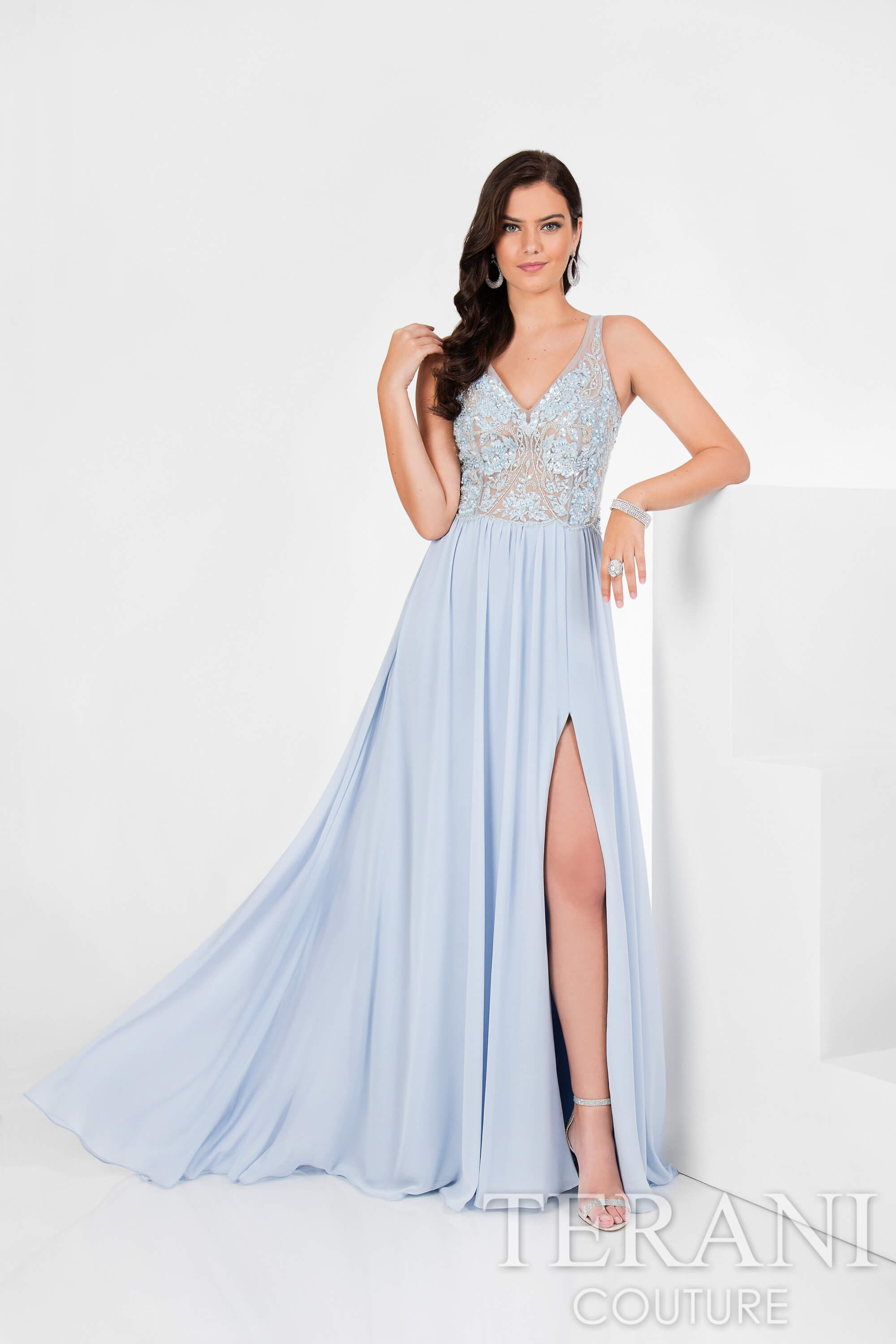Beaded Gown with Slit