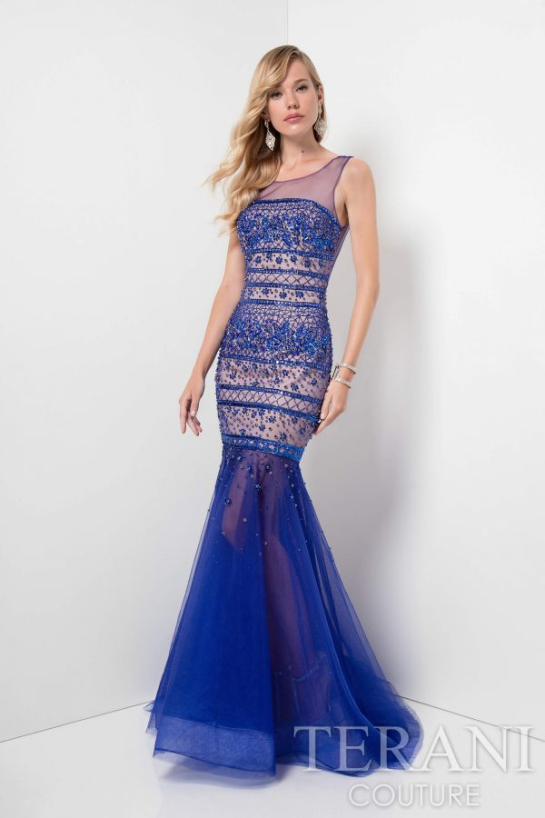 Beaded Royal Blue Dress