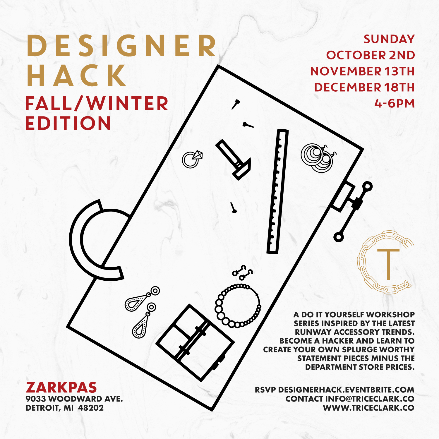 Be honest we all have been swooning over the latest collections showcased during New York Fashion Week. If you're a frugal fashionista like myself then you haven't exactly been knocking down the high end department stores door to buy a piece fresh off the runway. Join me at Zarkpas for the Designer Hack Fall/Winter series where we will create a do it yourself version of the latest season's accessory trends. We will make a statement necklace, earrings, and maybe even a hat. RSVP to become a Hacker   www.designerhack.eventbrite.com
