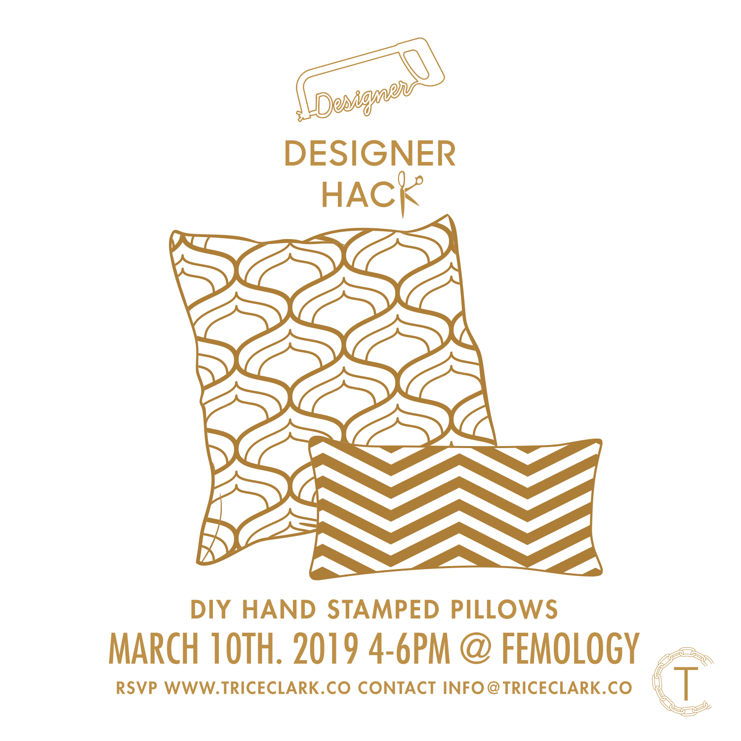 At the Designer Hack March 10th we will be making hand printed decorative pillows for your home. Come learn sewing basic sewing skills and stamping techniques.