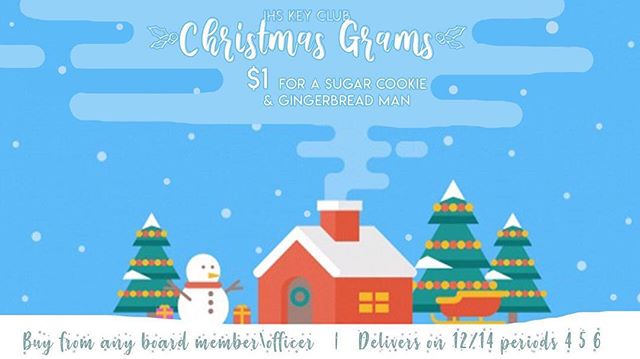 We're selling CHRISTMAS GRAMS!!! Enjoy the season with two cookies for $1!