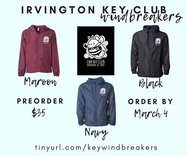 Check out Irvington's new windbreakers! If interested, you can order here: http://tinyurl.com/keywindbreakers