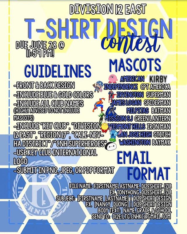 OH SNAP!! FRN SZN is soon..we need YOU to save us from standing shirtless on the bleachers.. YOU CAN HELP BY SUBMITTING A DESIGN TO @ d12e.ltg.cnhkc@gmail.com It is advised to not use club mascots due to copyright reasons. If used, it is not the end of the world but the amount to donate to PTP will be reduced.  If you noticed there has been a slight change as American High School changed their mascot to Kirby. So if you decide to do a design including club mascots please DO NOT use The Flash to resemble AHS but Kirby.  If you have any questions just Direct Message This account and we will make sure our Spirit Coordinators and Lieutenant Governer answer you in a flash!