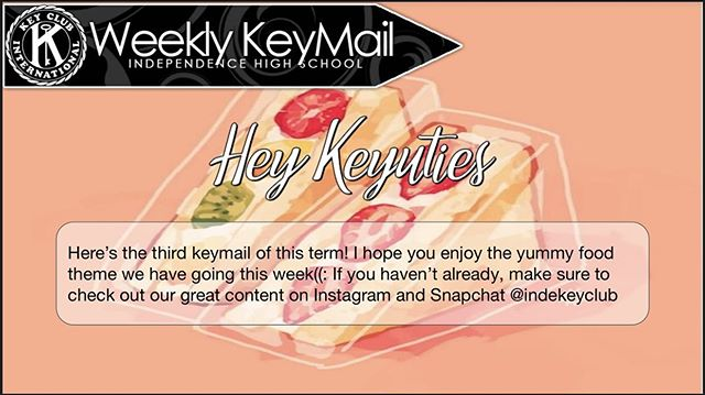 The last if the bunch! Check out this weeks keymail from our Senior Class Director @3il33n_ Check out the tasty events coming up and some awesome events like Poke house fundraiser (WHICH IS TOMORROW) and Key Clubmaster sunnies merch!