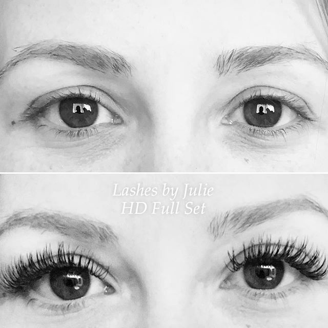 Before and after HD Full set by our amazing lash extension artist Julie! Schedule online at www.gildbeautybar.com
