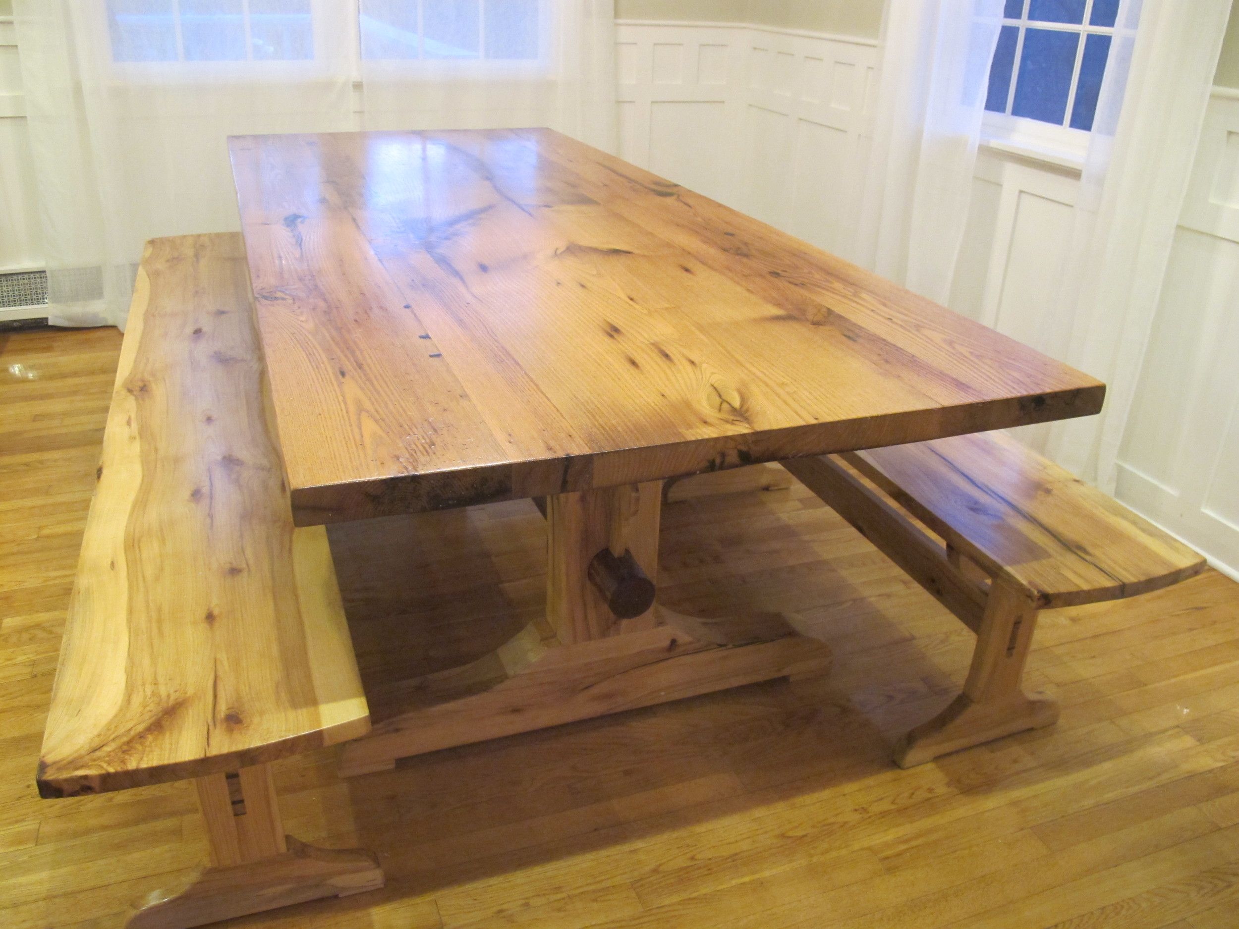 Reclaimed Chestnut Trestle Table with Hickory Base