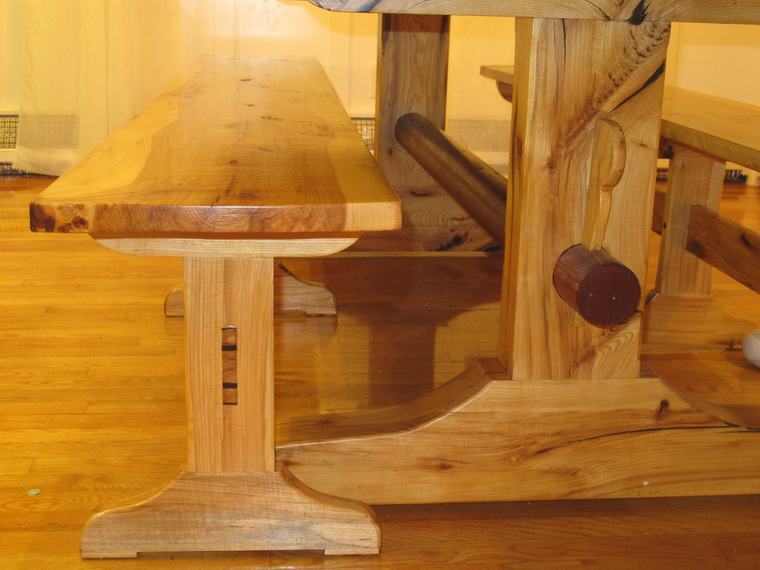 Hickory Benches and Base with Round Red Cedar Stretcher