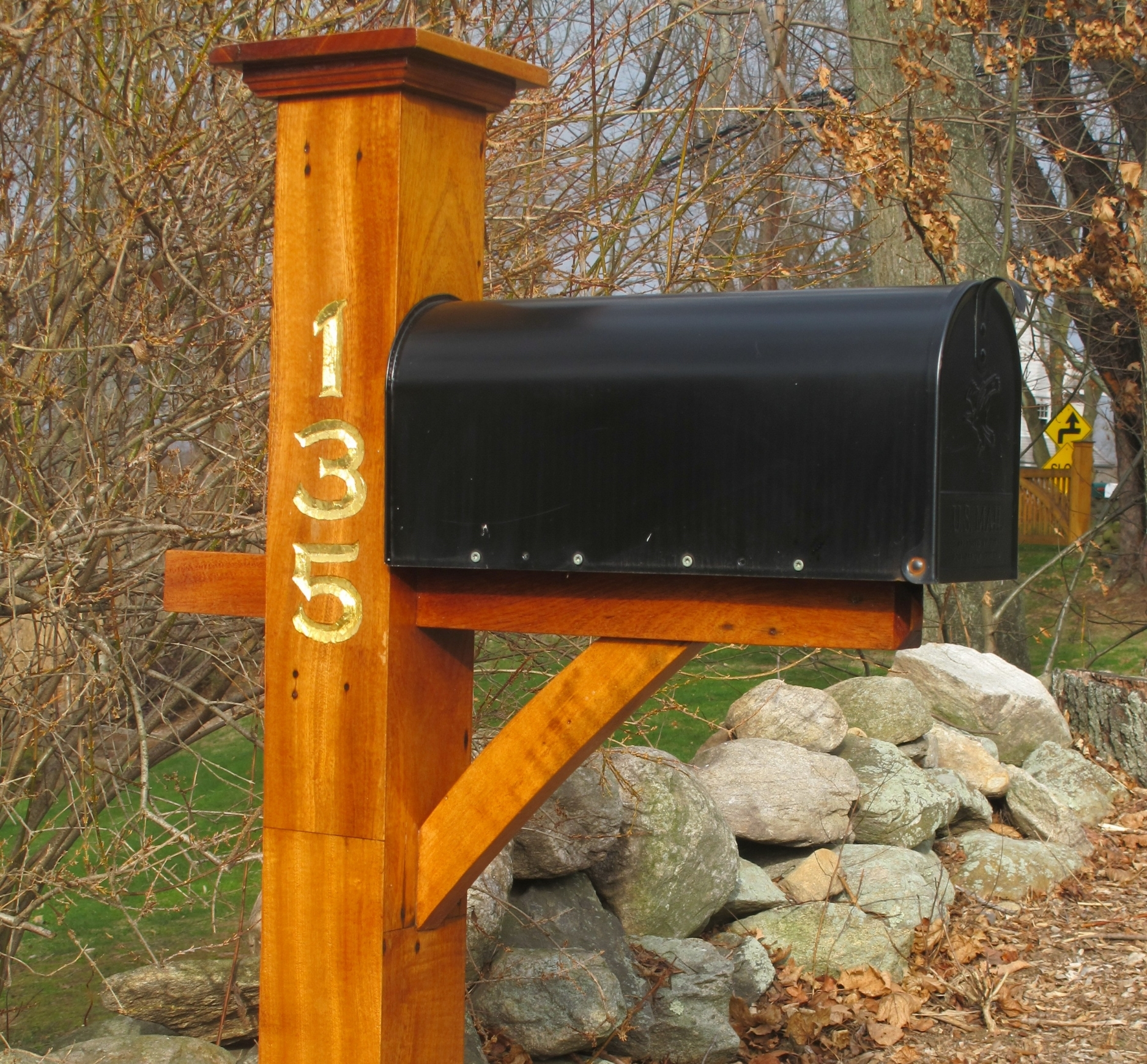 Mahogany Mailbox Post with Carved and Gilded Gold Letters