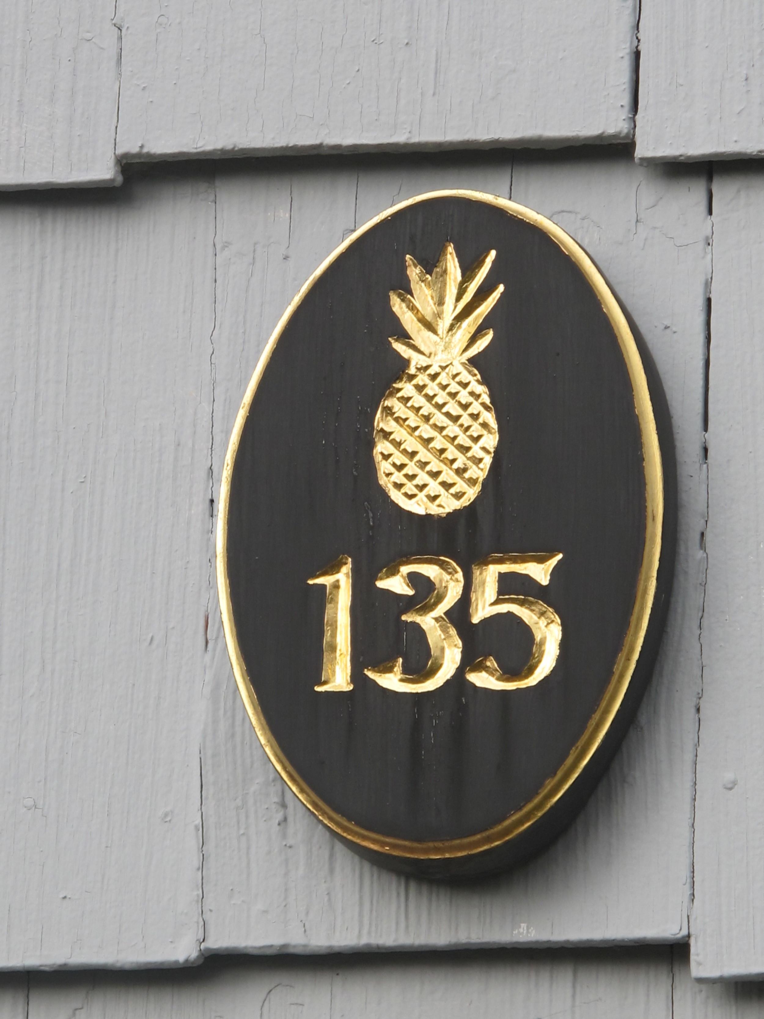 Carved Gilded House Number Sign