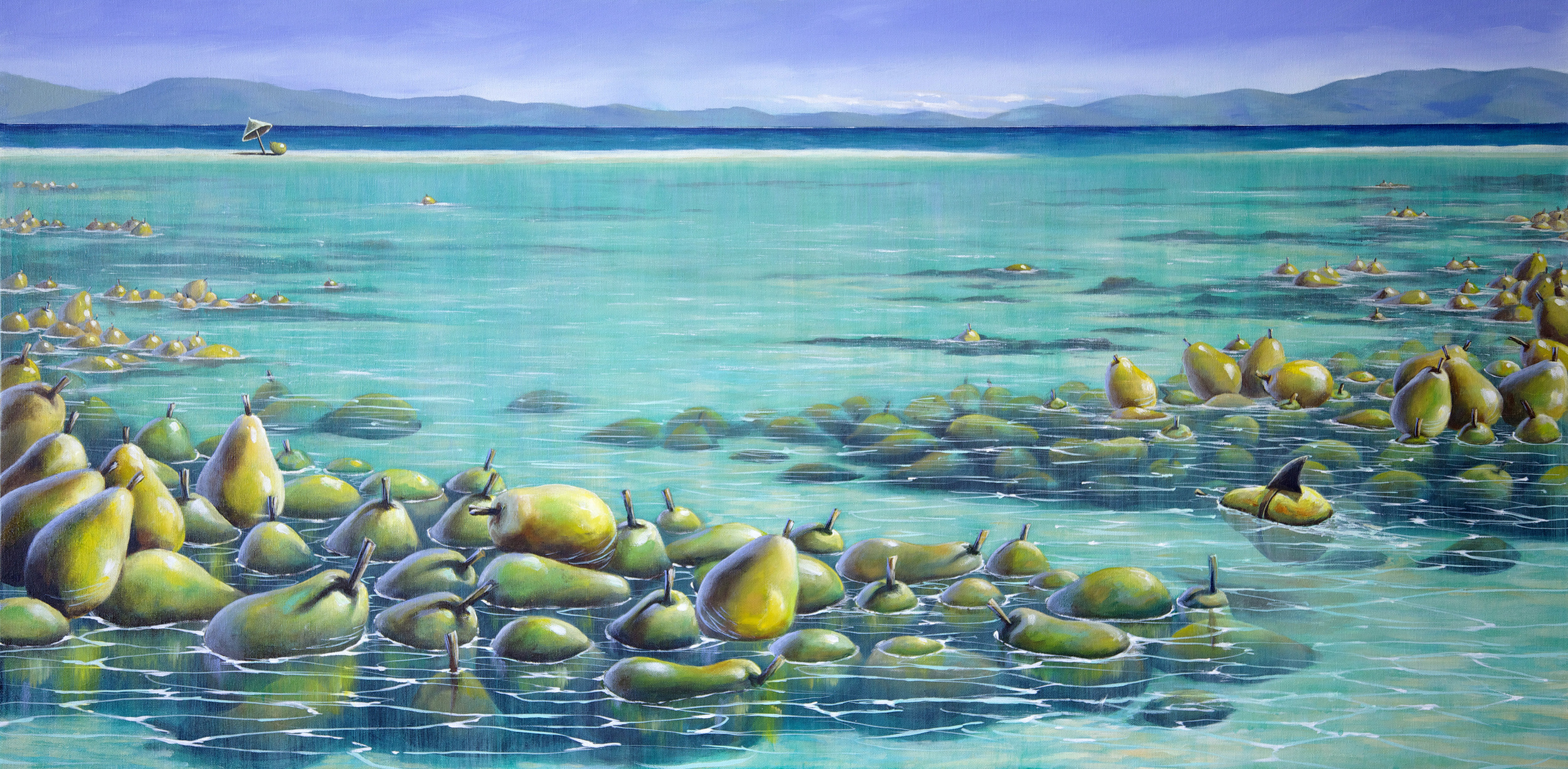 """""""The Great Pearrier Reef""""           24"""" x 48 """", Acrylic on canvas"""