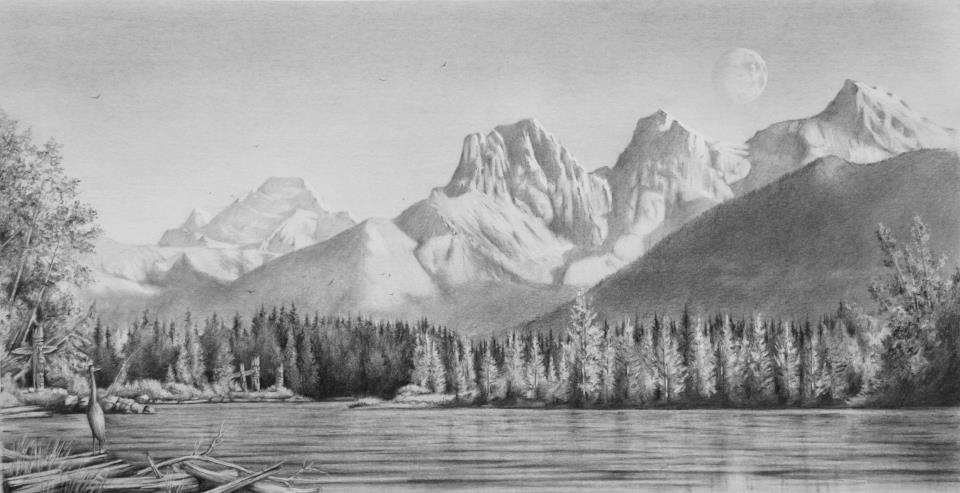 """Canmore"", Graphite on paper, 9"" x 13 """