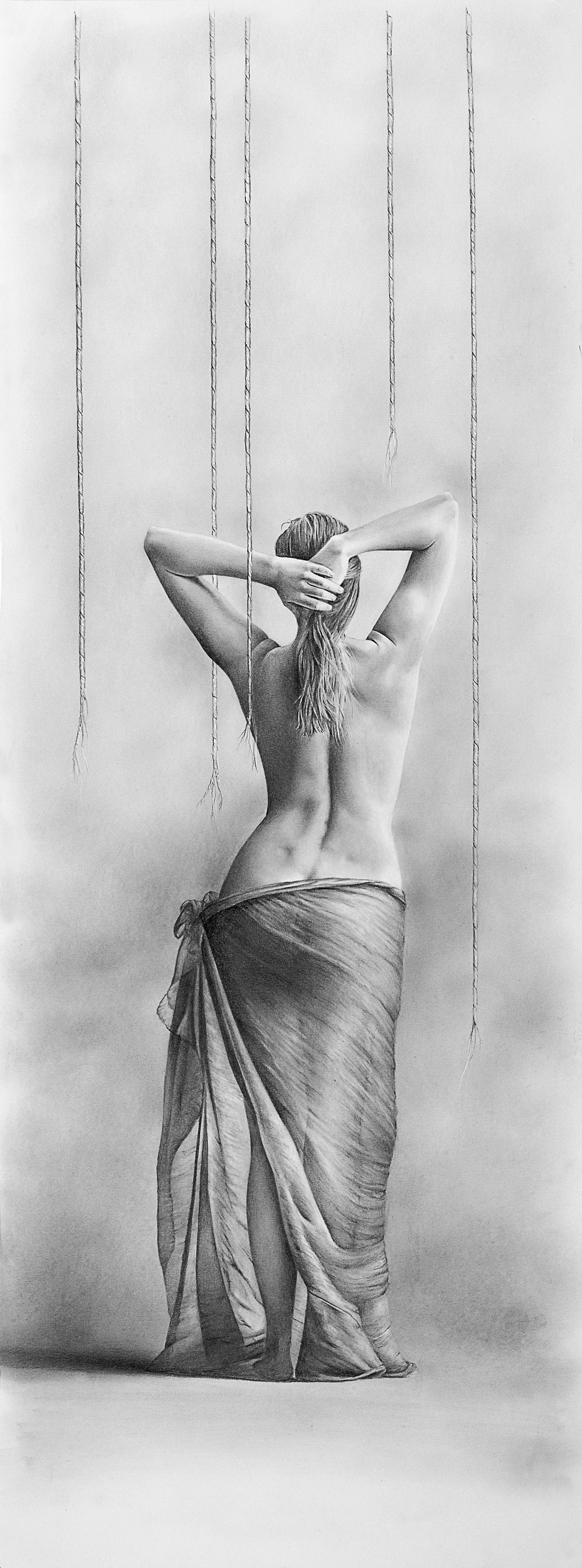 """Boundless"", Graphite on paper, 25"" x  10"""