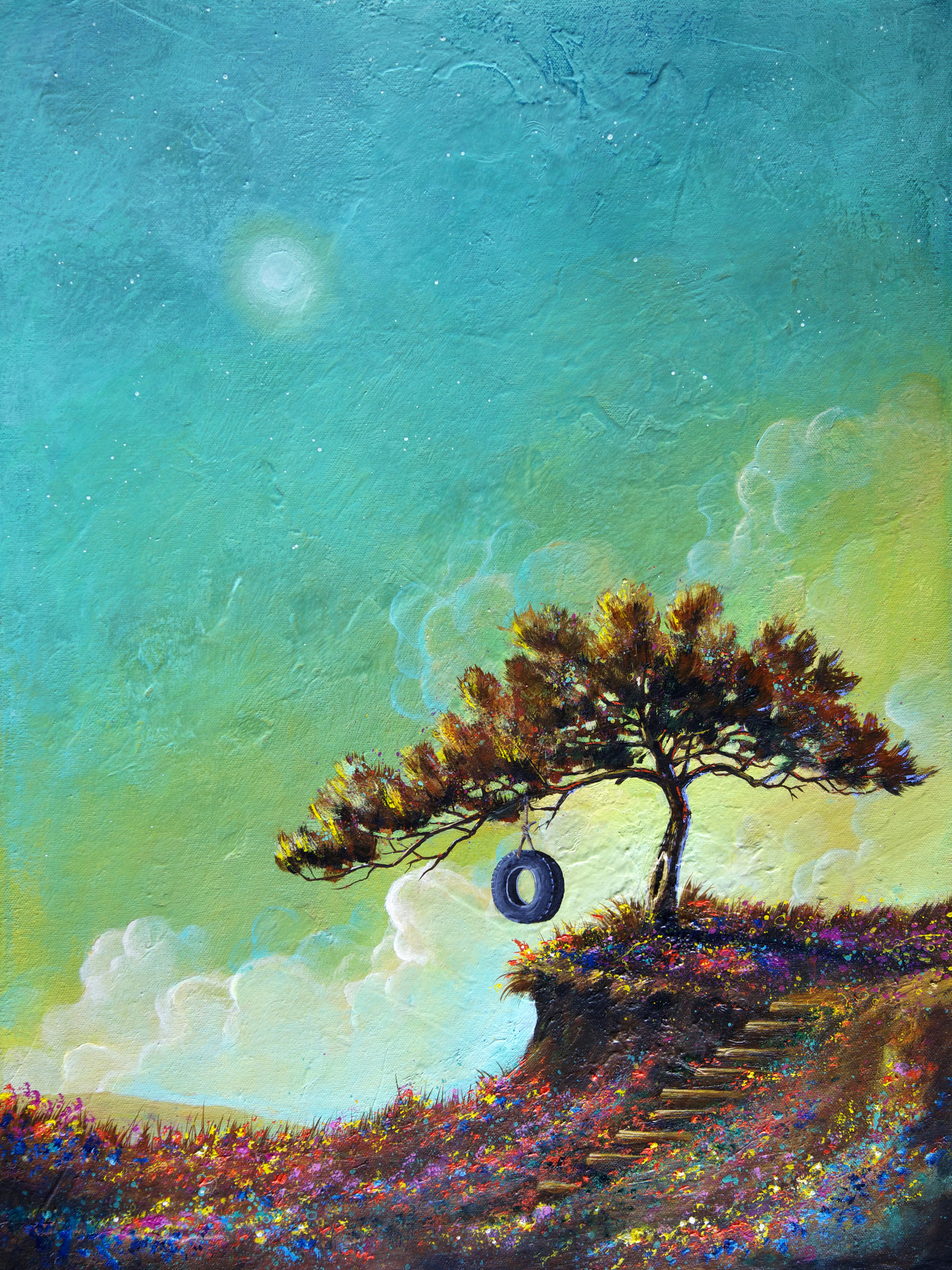 Acrylic painting, Tree, turquoise. Happy tree series acrylic on canvas painting.jpg
