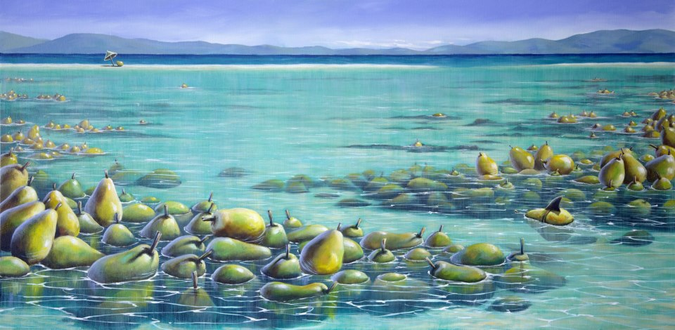 bill_higginson_the great pearrier reef-surrealism_painting-acrylic-painting-pears-fruit-canvas
