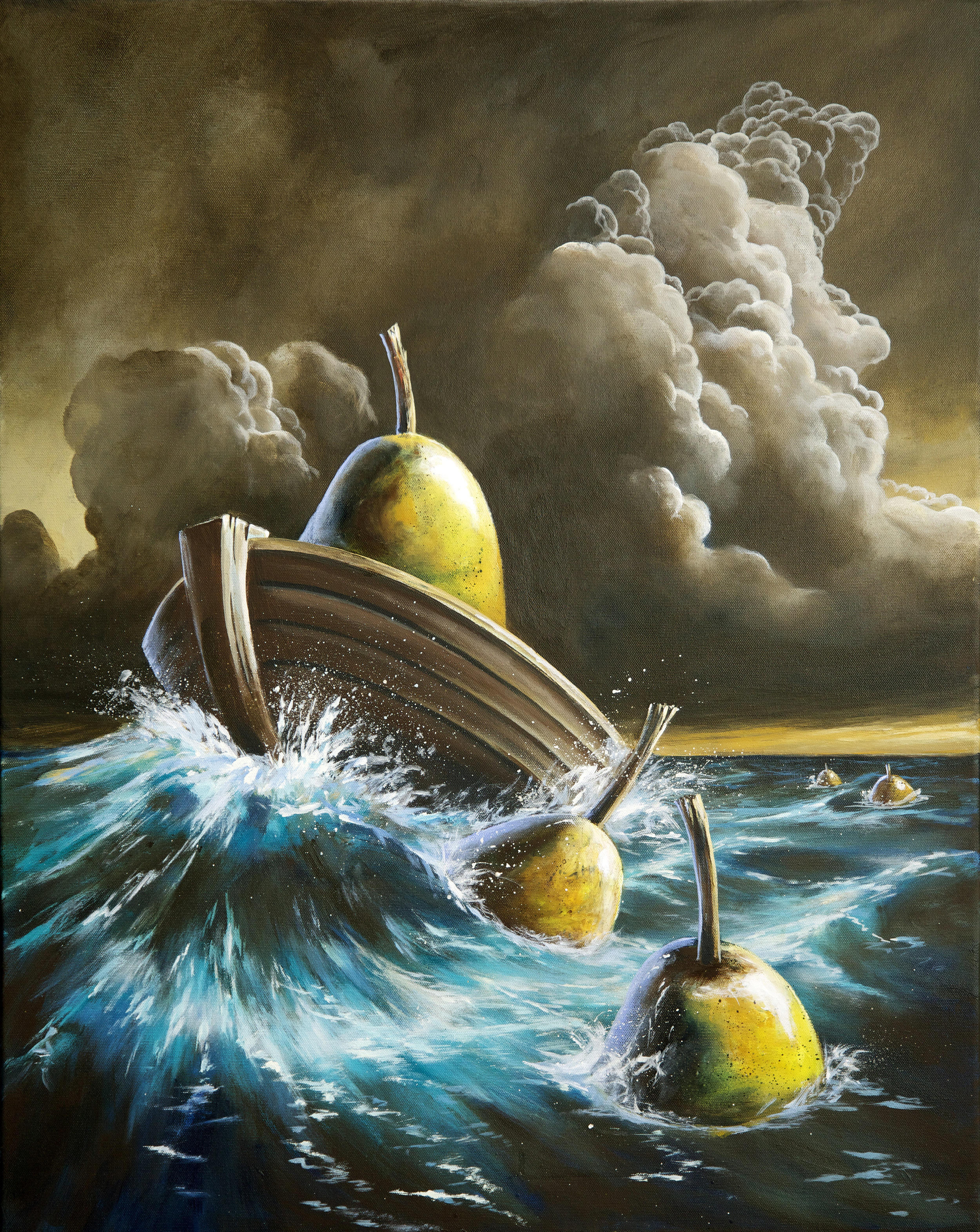 bill_higginson_the-pearilous-ocean-surrealism_painting-acrylic-painting-pears-fruit-canvas
