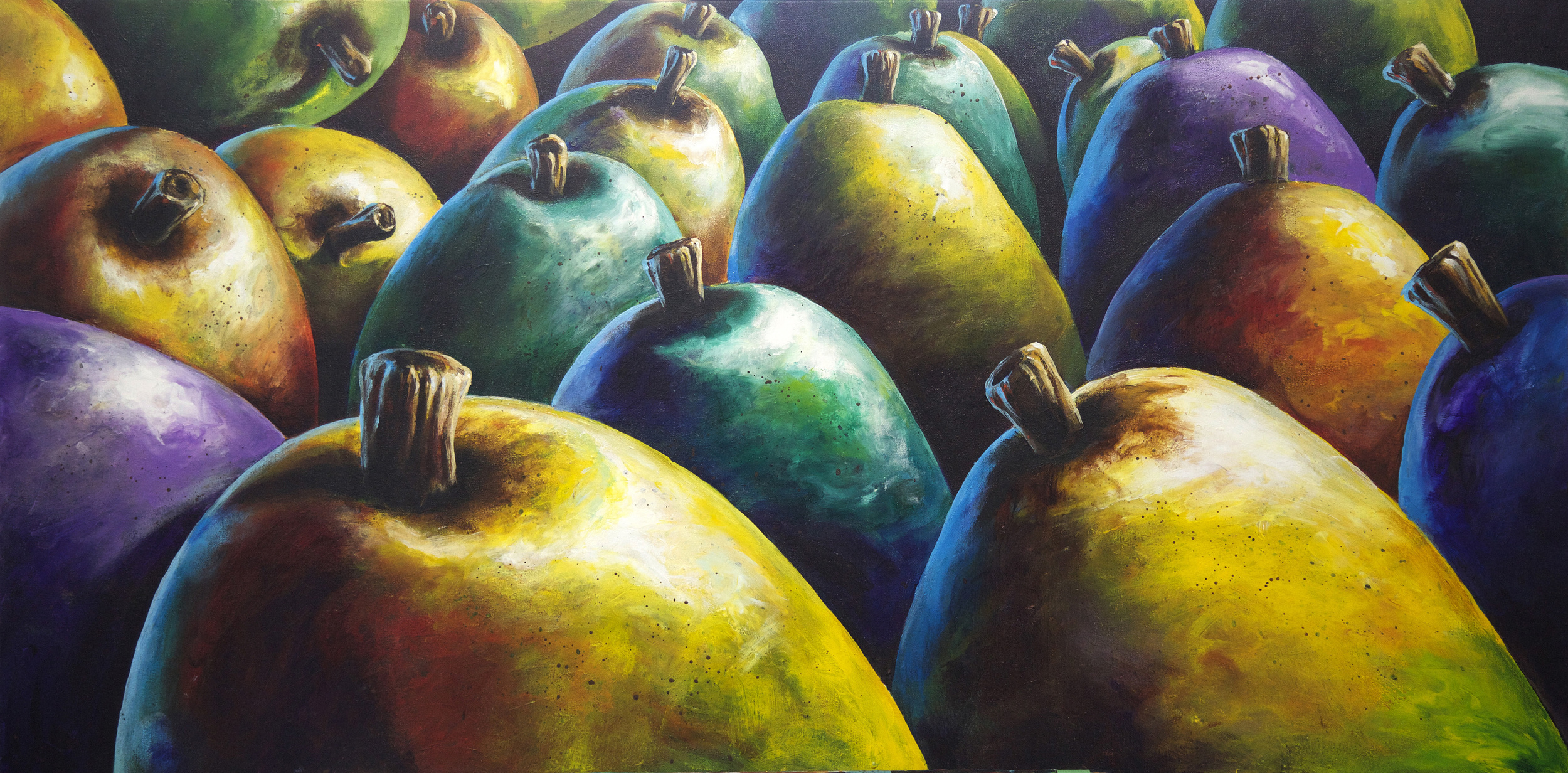 bill_higginson_hyper colour pears-surrealism_painting-acrylic-painting-pears-fruit-canvas