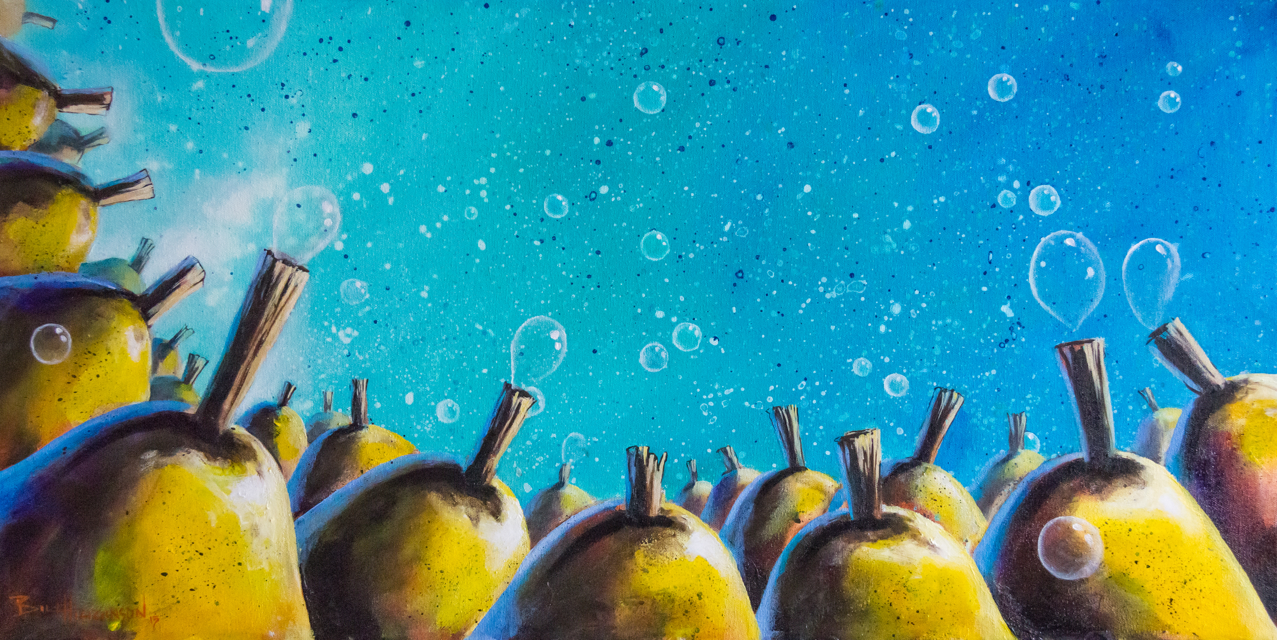 bill_higginson_The Bubble Blowers-surrealism_painting-acrylic-painting-pears-fruit-canvas