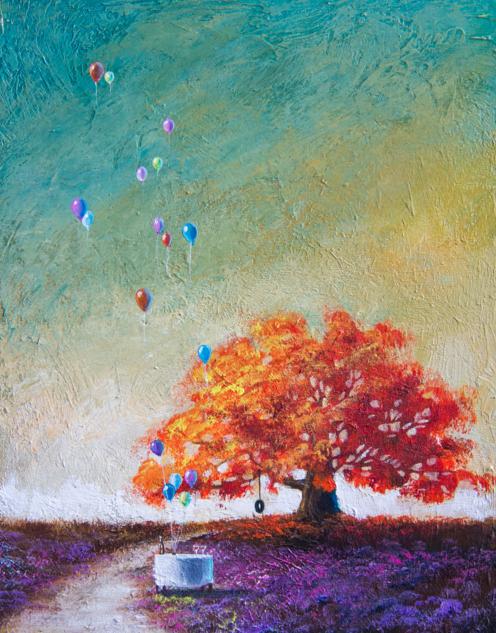 Happy tree series acrylic on canvas painting