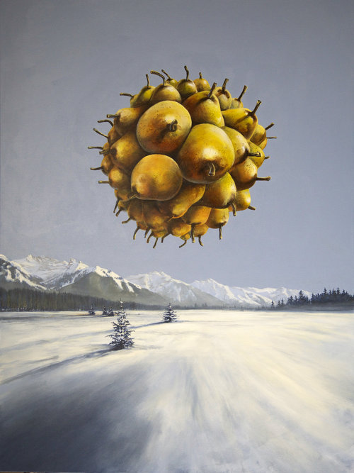 Polar Pear-contemporary-surrealism-art-acrylic-painting-vancouver-artist-william-higginson