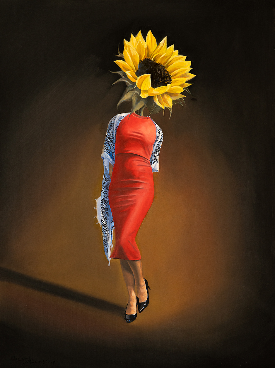 Lady Helianthus-Annuus surrealism oil painting william d higginson.jpg