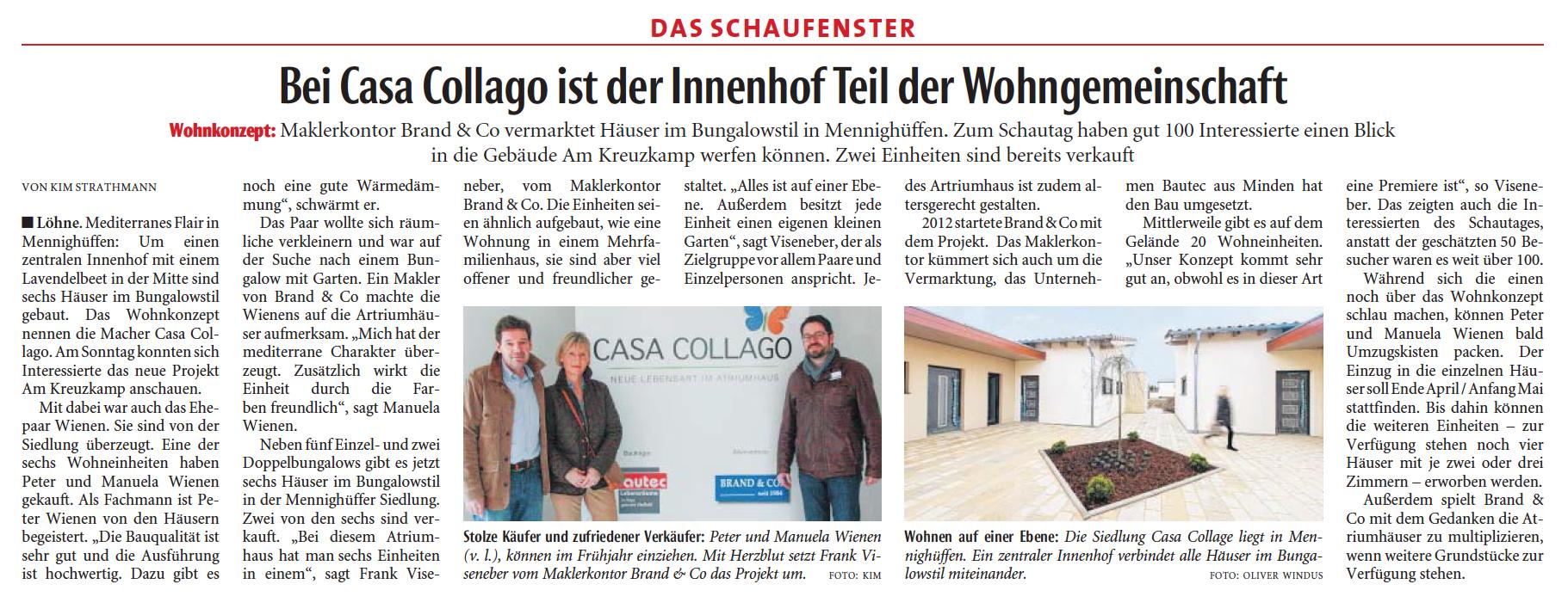 Nachbericht: redaktioneller Beitrag in der örtlichen Tageszeitung – Reaktion auf den erfolgreichen Schautag.