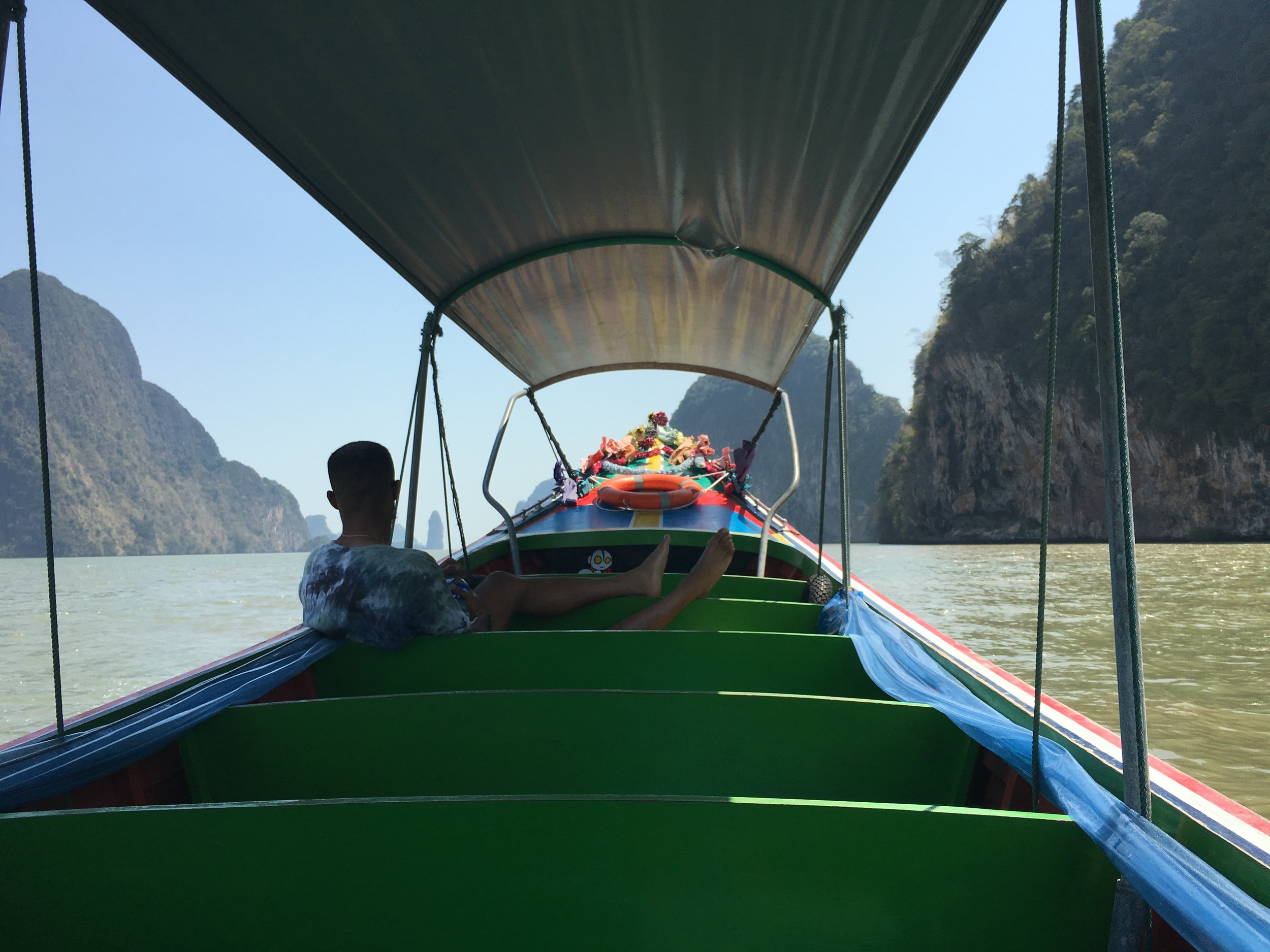 Touring James Bond Island from a speedboat rented just for us two.