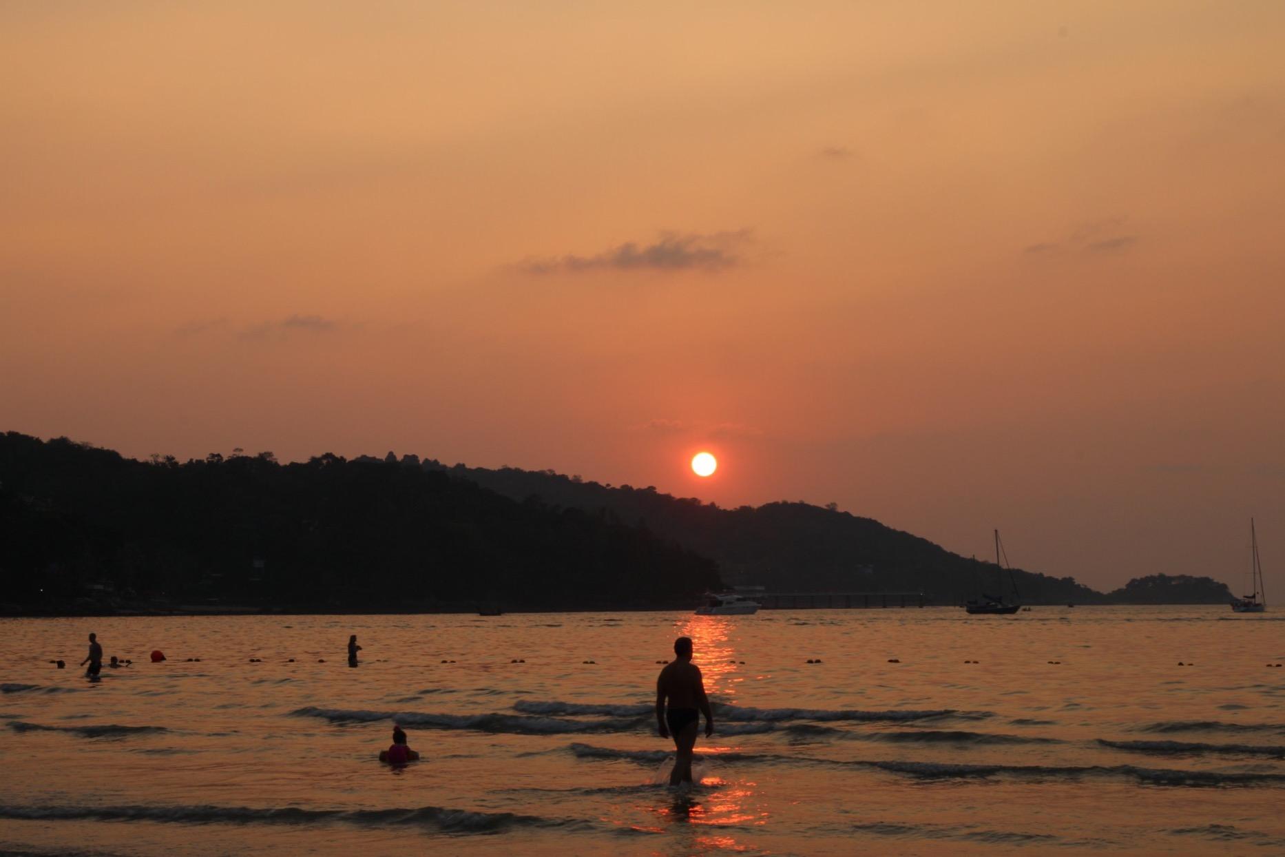 Sunset at Patong Beach of Phuket, Thailand.