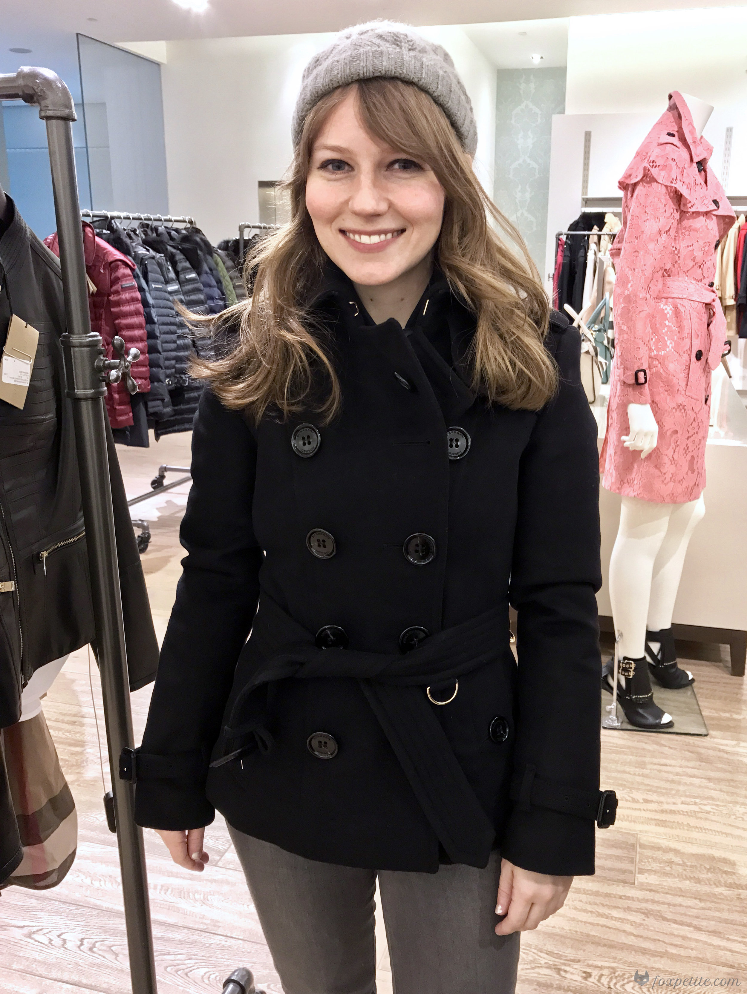 Burberry Sandringham-Fit  Wool Cashmere Trench Jacket (Sandringham fit) in black, USA size 2 ( here )