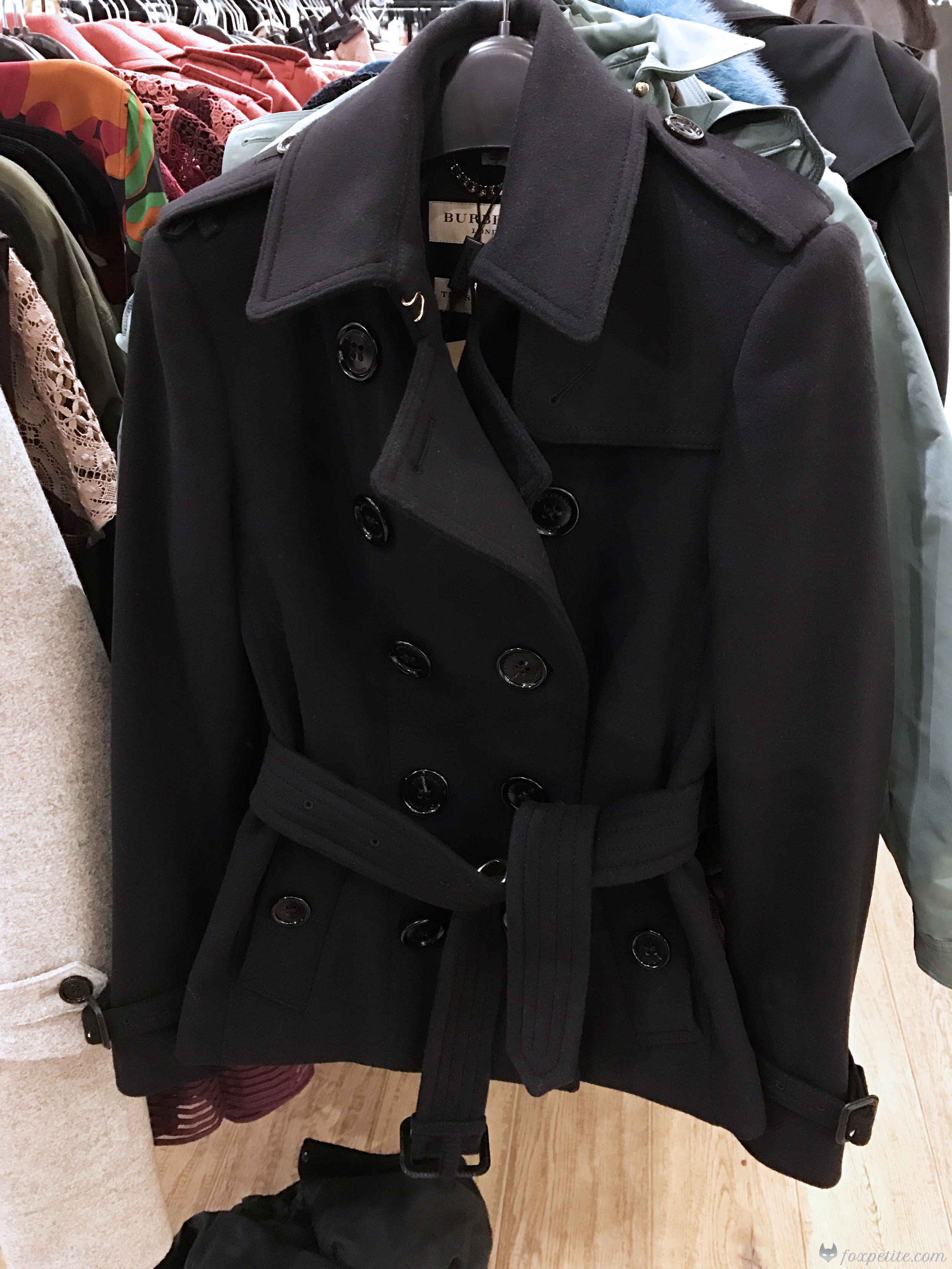 Burberry Sandringham-Fit Wool Cashmere Trench Jacket in black, USA size 2 (  here  )