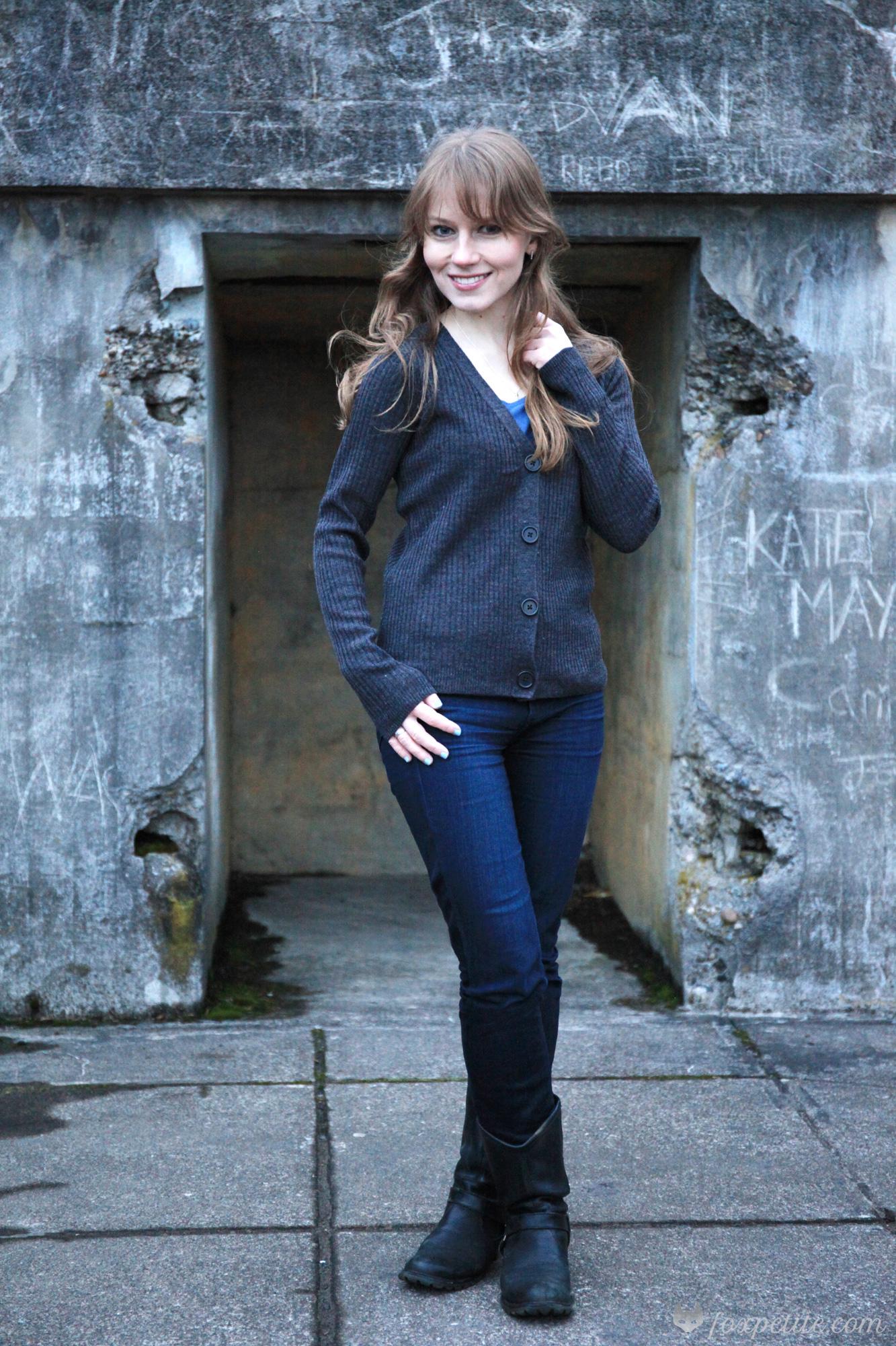 Asos Petite Rib Knit Grey Cardigan | Fox Petite | Women's Fashion