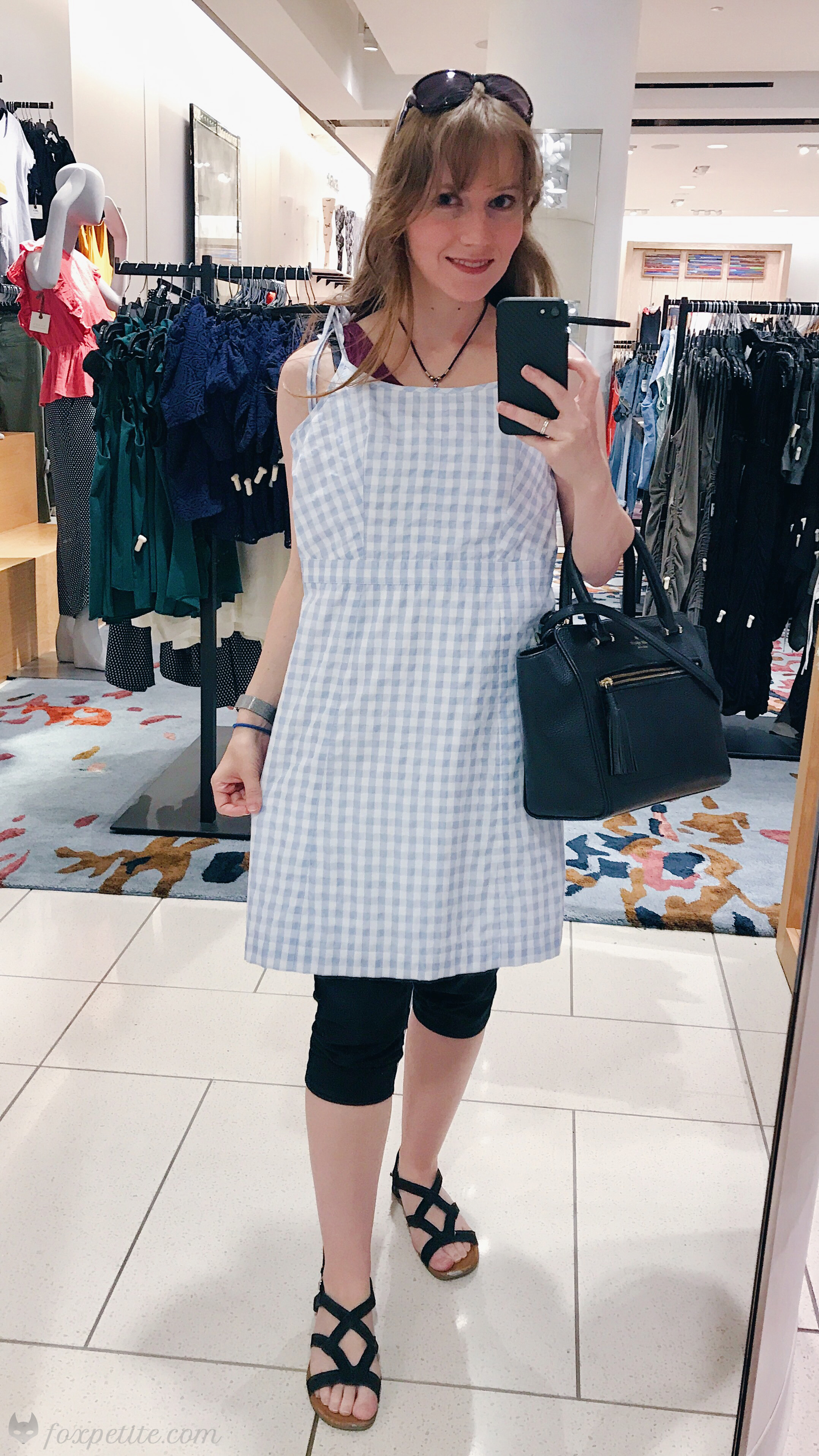 Madewell Tie Strap  Gingham  Dress in glacier blue size 00