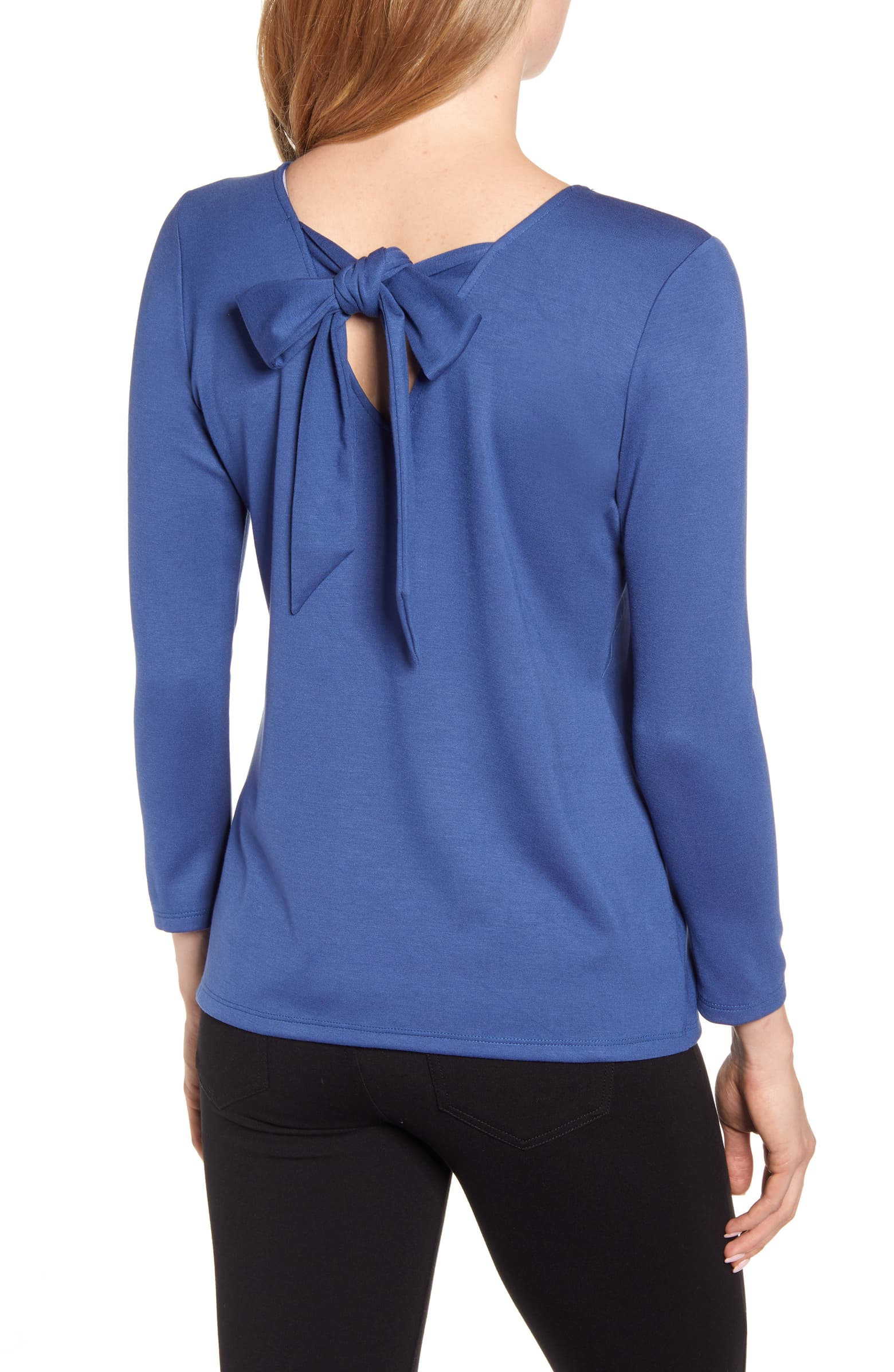 Gibson Baby Ponte  Bow Back  Long Sleeve (Petite)