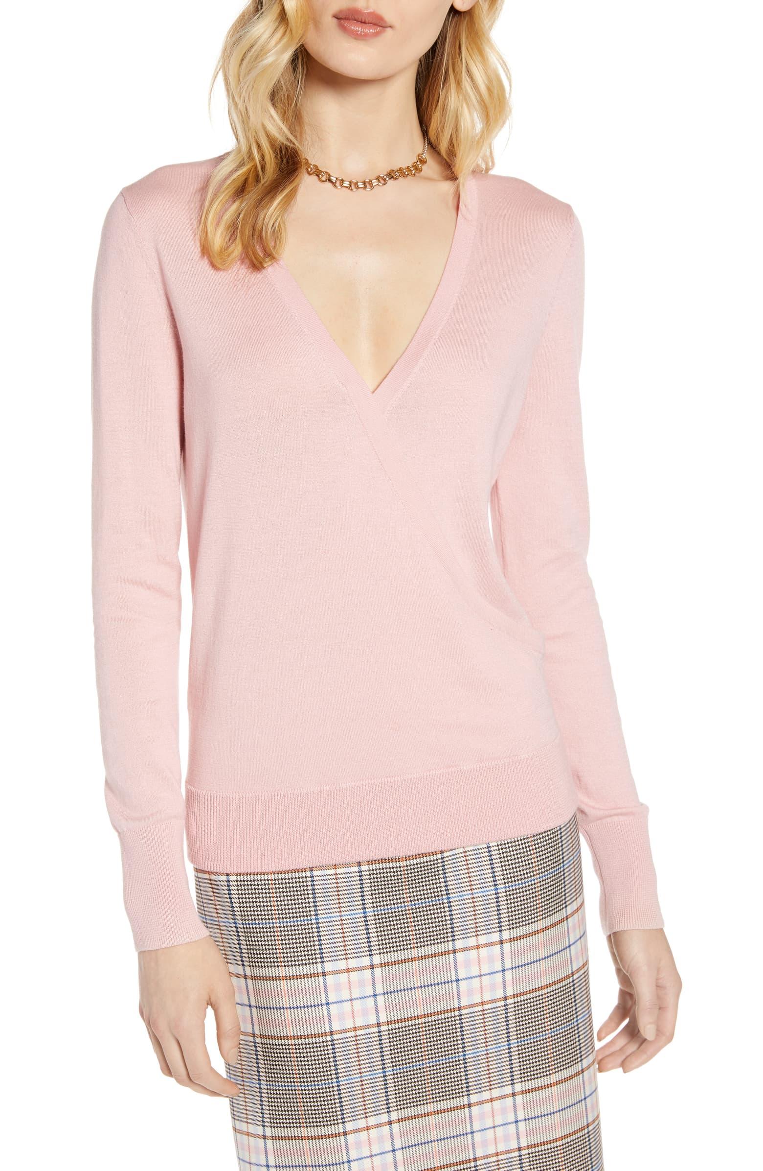 Halogen  Faux Wrap  Sweater (Petite)