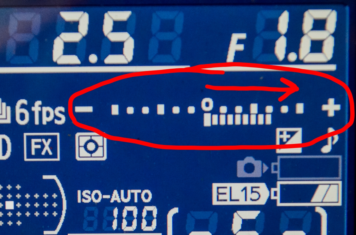 """The light meter here tells us before we ever take the photo that it will be over exposed. We know that because the light meter is weighted to the right side of the """"number line""""."""