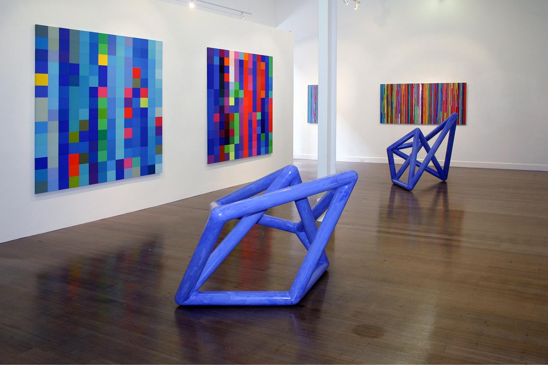 Foreground:  Vessel #2 & 3,  2003 Wall:  Flickering Light #3 & 4,  2003 - 2004,  Spent Light #4 & 1,  2004 - 2005