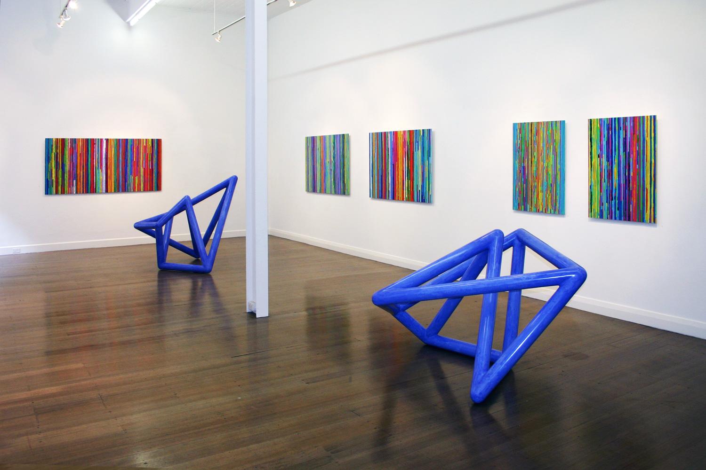 Foreground:  Vessel #2 & 3 , 2003 Wall:  Spent Light #1, 3, 2, 5 & 6,  2003 - 2005