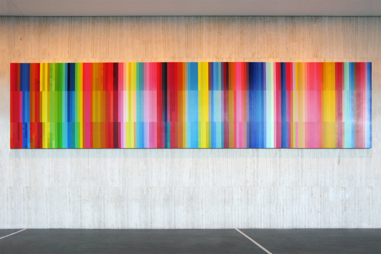 Haze (Spectrum Shift),  2008 Synthetic polymer paint on ten archival wooden panels 264 x 119.6 x 75cm each, 264 x 1196 x 75cm overall Architects: Harry Seidler & Associates