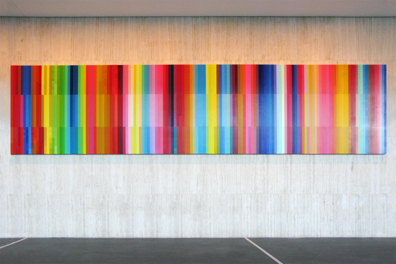 Haze (Spectrum Shift),  2008 Synthetic polymer paint on ten archival wooden panels 264 x 119.6 x 75cm each,264 x 1196 x 75cm overall Architects: Harry Seidler & Associates