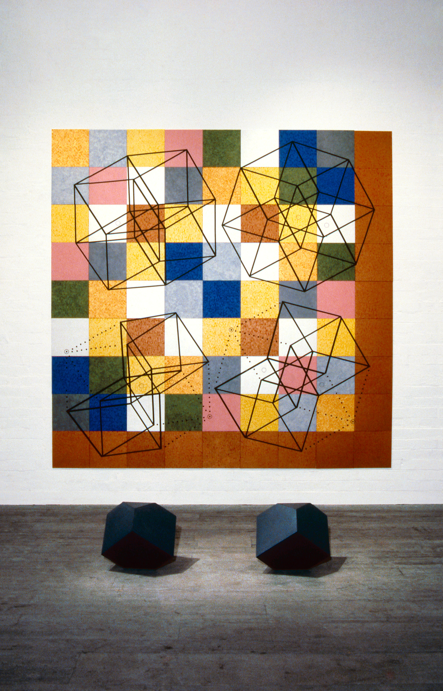 Re-Vision (Melancolia),  1987 Wall: Acrylic, mica and tape on 81 canvas boards, 274 x 274cm Floor: Wood, sand and formica, 48 x 48 x 48cm each