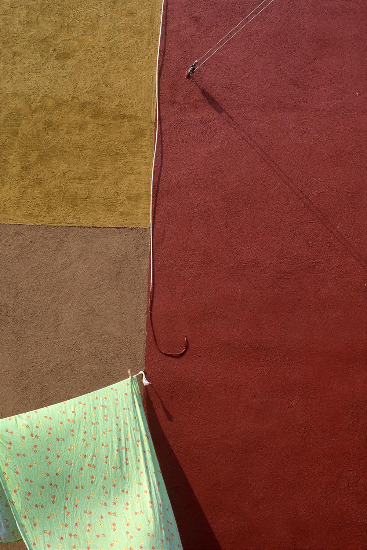 Green Sheet, Burano Italy, 1978 ,Cibachrome Print, 24 x 16cm, Edition of 10.              Exhibition:  Burano Colour Works ,Australian Centre for Photography, Sydney; Solander Gallery, Canberra; Wagga Wagga City Art Gallery,Wagga Wagga, 1979.