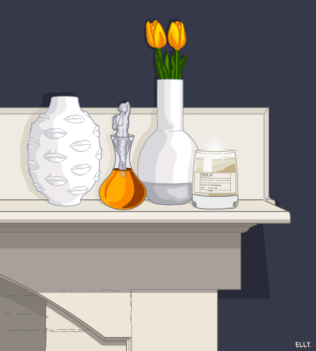 Featuring a  Jonathan Adler  vase, a decanter by  Lalique , and a  Le Labo  candle