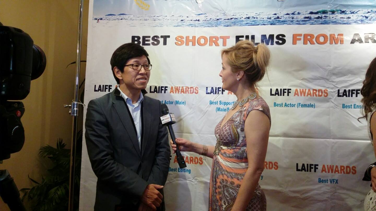 Director Daeryun Chang gets interviewed at the festival
