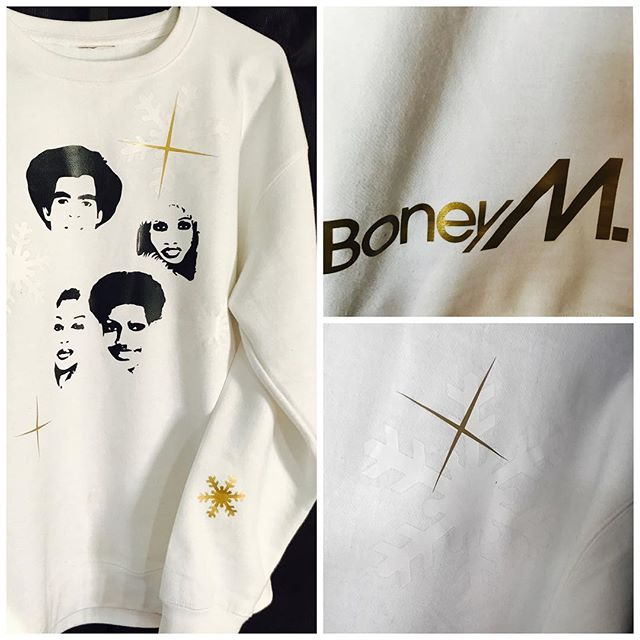 Couldnt refrain from doing this Boney M white Christmas sweatshirt... if you know the Boney M Christmas album... you too might have the affinity... white on white snowflakes, gold highlights... want one?905-903-4445 #boneym #boneymchristmas #marysboychild #christmas #christmassweater #christmasmusic #christmassong #xmassweater #customsweater #dope