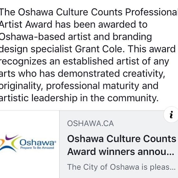 I won!  Very honoured and grateful for this award: Thank you all who nominated me and the Oshawa Culture Counts committee for your selection!