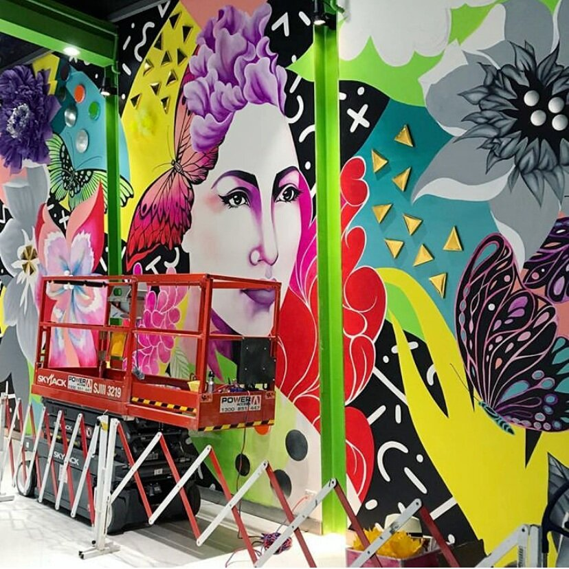 This wall was 4.5 meters high x 9m wide - using a scissor lift and ladders Shannon tirelessly built the work over a two week period in centre…what a treat for the customers to watch this unfold.