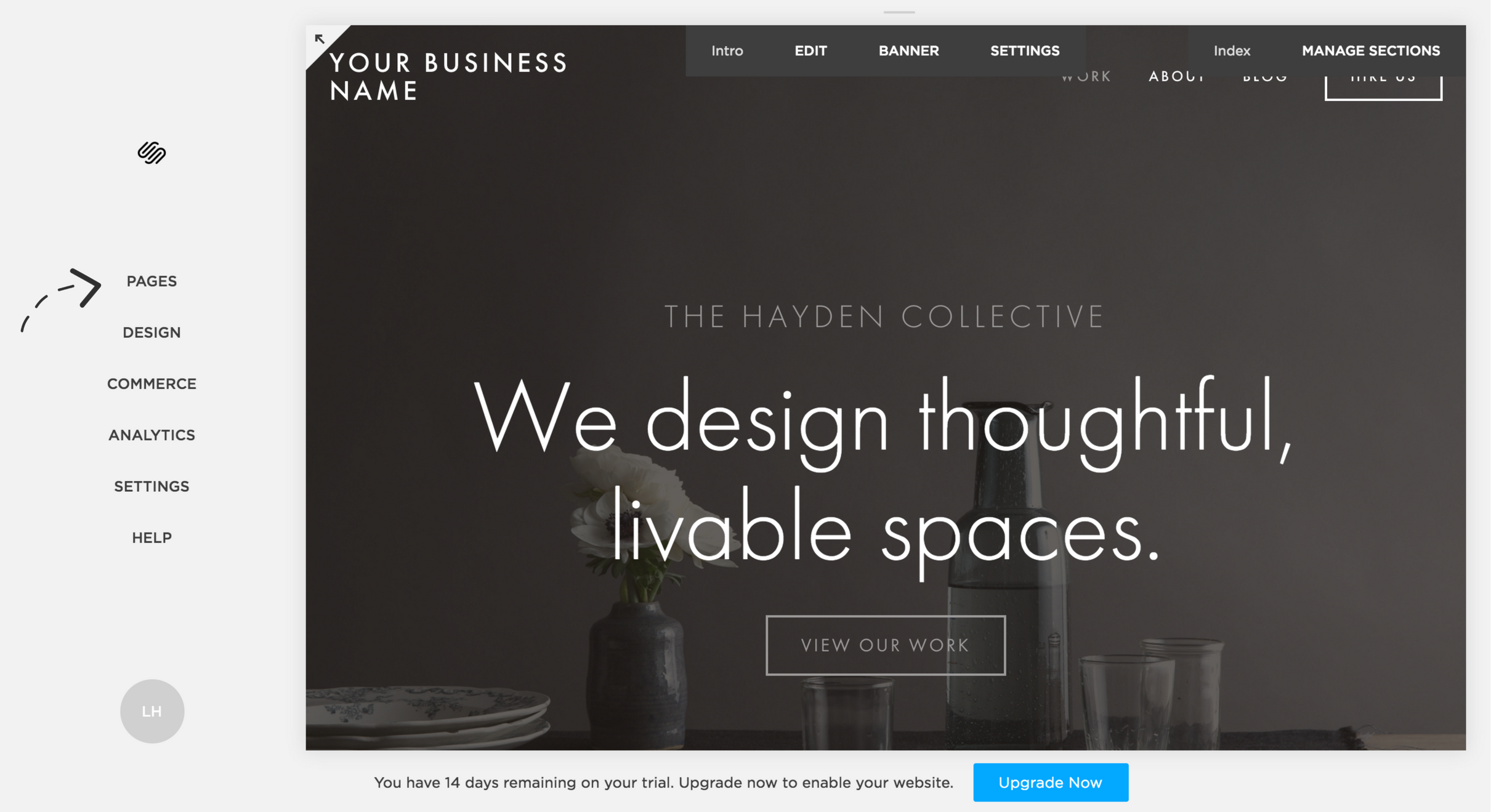 """Backend view of Squarespace - to edit the content, click """"Pages"""""""